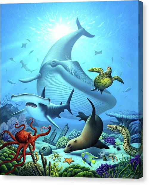 Blue Whales Canvas Print - Ocean Life by Jerry LoFaro