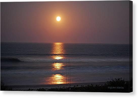 Ocean Moon In Pastels Canvas Print