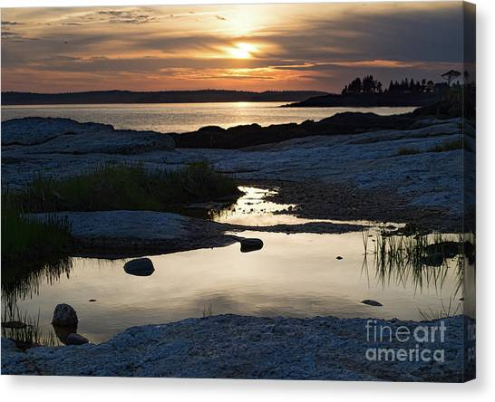 Ocean Point Sunset In East Boothbay Maine  -23091-23093 Canvas Print