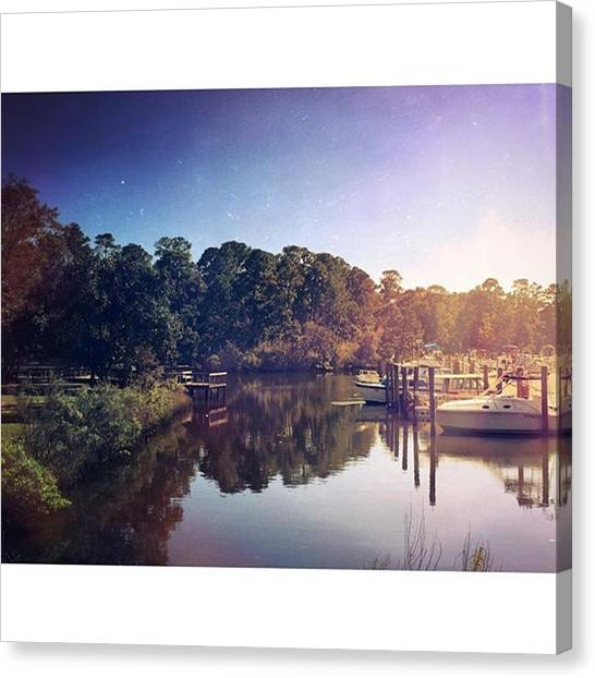 Mississippi Canvas Print - Ocean Springs Inner Harbor by Joan McCool