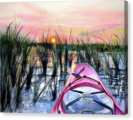 Ocean Sunrises Canvas Print - Ocean Sunrise Kayak by Carlin Blahnik CarlinArtWatercolor