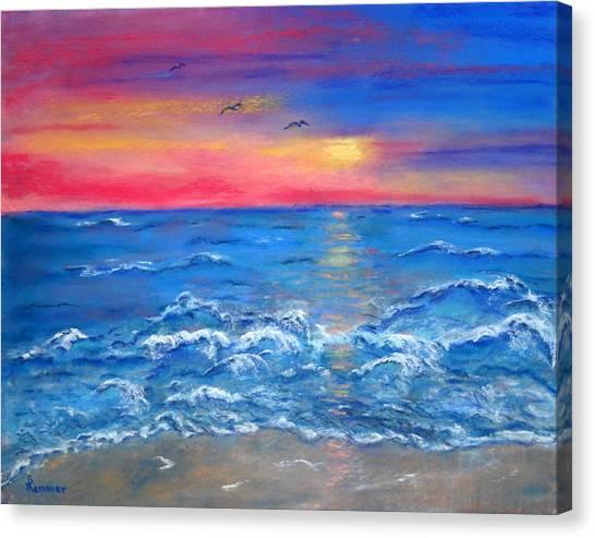 Ocean Sunrise Canvas Print by Sandy Hemmer