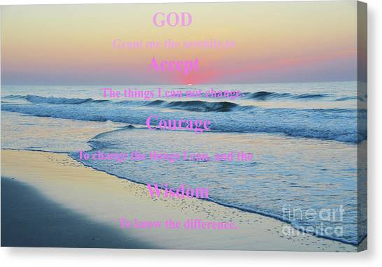 Ocean Sunrise Serenity Prayer Canvas Print