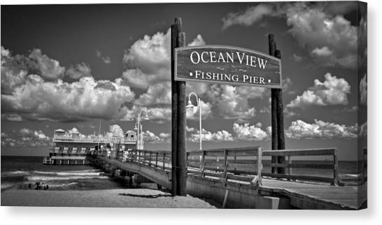 Canvas Print featuring the photograph Ocean View Fishing Pier by Williams-Cairns Photography LLC