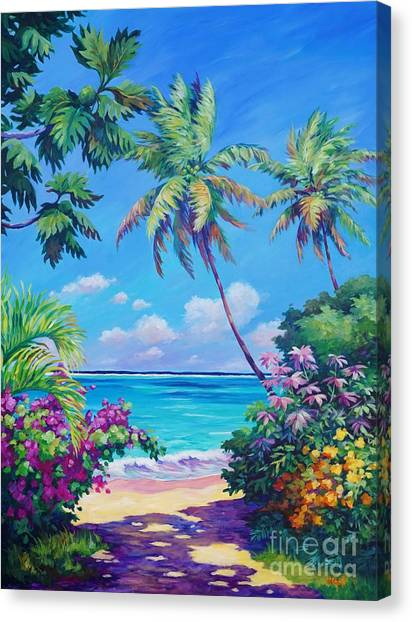 Bahamas Canvas Print - Ocean View With Breadfruit Tree by John Clark