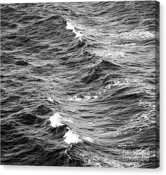 Canvas Print featuring the photograph Ocean Waves Black And White by Tim Hester