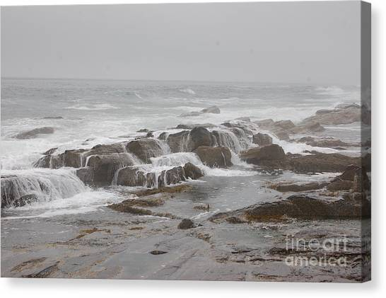 Ocean Waves Over Rocks Canvas Print