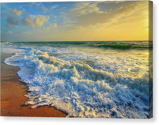 Ocean Waves Sunrise Canvas Print