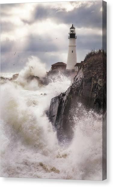 Portland Lighthouse Canvas Print - Ocean's Fury by Jeff Bazinet