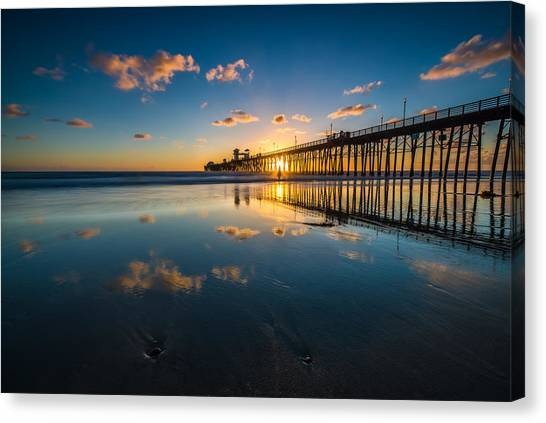 Singh Canvas Print - Oceanside Pier Reflections by Larry Marshall
