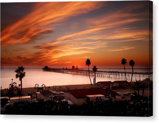 Palm Trees Sunsets Canvas Print - Oceanside Sunset 10 by Larry Marshall