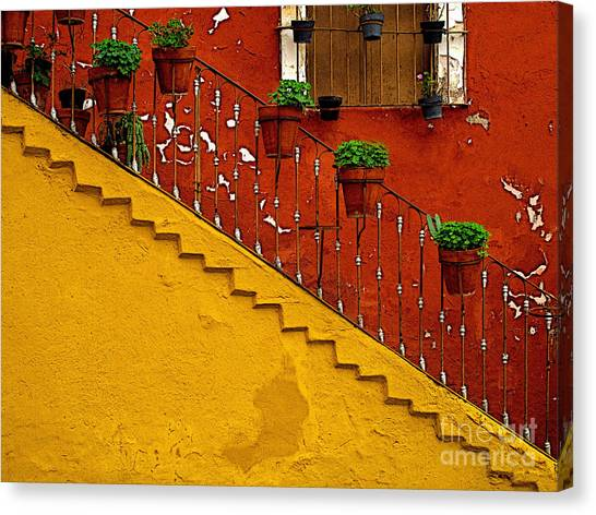 Ochre Staircase With Red Wall 2 Canvas Print by Mexicolors Art Photography