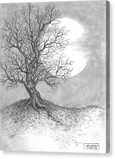 Pen And Ink Drawing Canvas Print - October Moon by Adam Zebediah Joseph