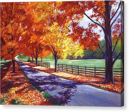 Autumn Leaves Canvas Print - October Road by David Lloyd Glover