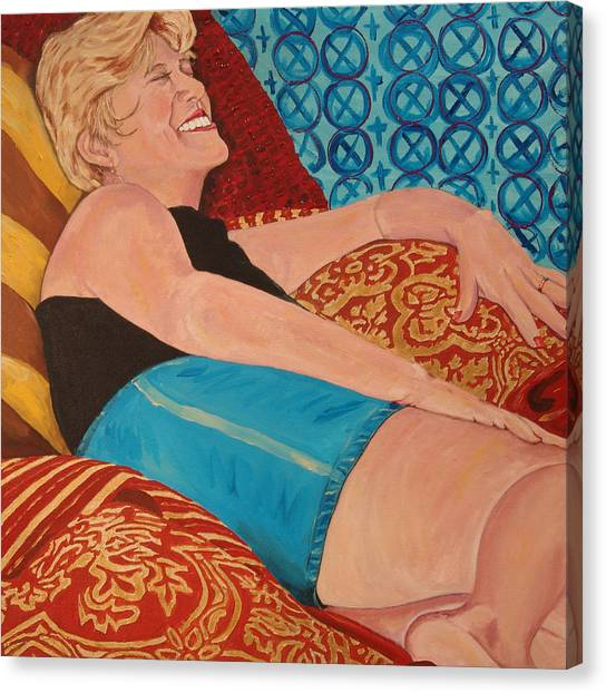 Odalisque In Blue Shorts Canvas Print