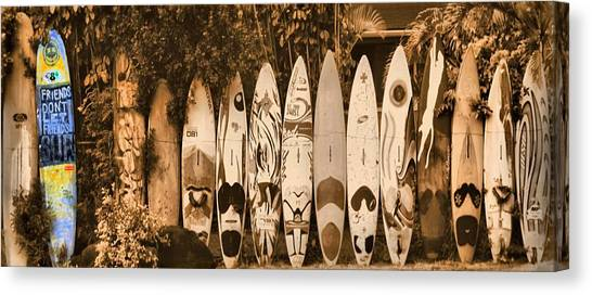 Surfboard Fence Canvas Print - Odd One Out by DJ Florek