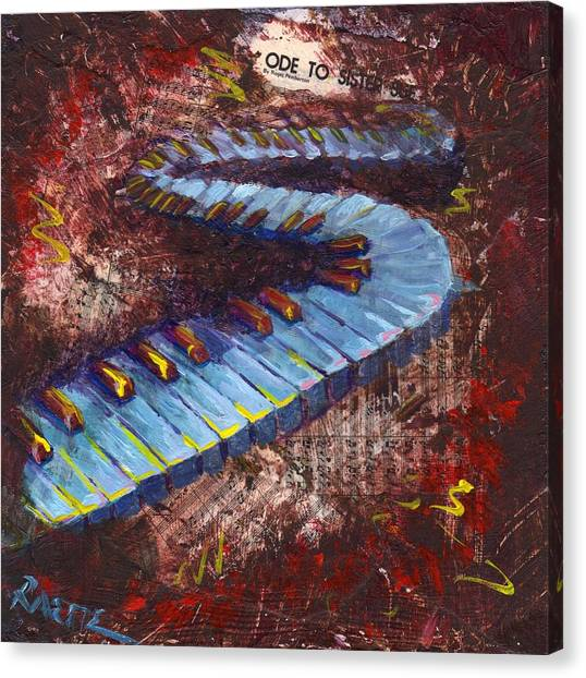 Synthesizers Canvas Print - Ode To Sister Sue by Raette Meredith