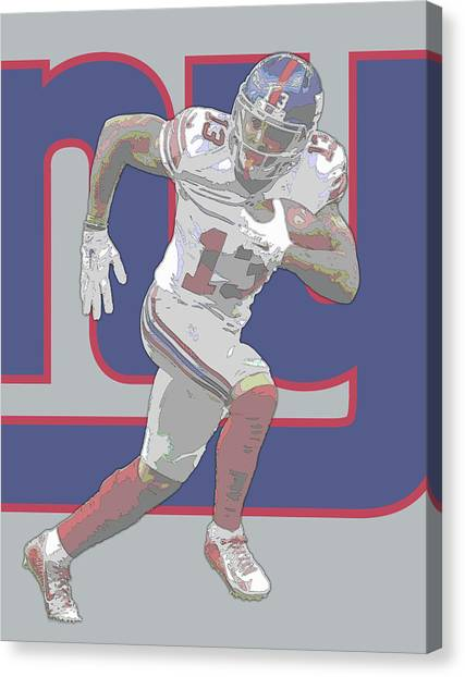 Odell Beckham Jr Canvas Print - Odell Beckham Jr New York Giants Contour Art by Joe Hamilton