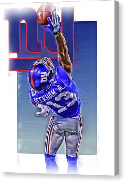 New York Giants Canvas Print - Odell Beckham Jr New York Giants Oil Art 2 by Joe Hamilton