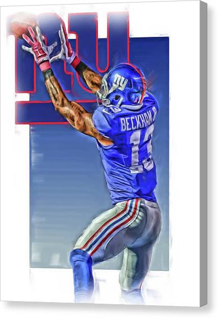 New York Giants Canvas Print - Odell Beckham Jr New York Giants Oil Art 3 by Joe Hamilton