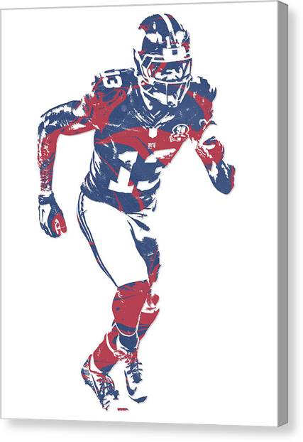 Odell Beckham Jr Canvas Print - Odell Beckham Jr New York Giants Pixel Art 15 by Joe Hamilton