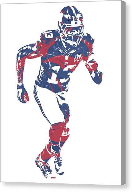 Odell Beckham Jr Canvas Print - Odell Beckham Jr New York Giants Pixel Art 15 by Joe Hamilton