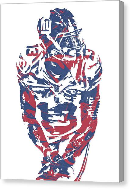 Odell Beckham Jr Canvas Print - Odell Beckham Jr New York Giants Pixel Art 17 by Joe Hamilton