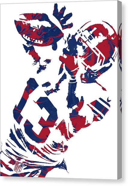 New York Giants Canvas Print - Odell Beckham Jr New York Giants Pixel Art 5 by Joe Hamilton