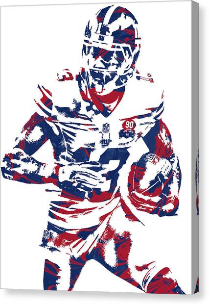 Odell Beckham Jr Canvas Print - Odell Beckham Jr New York Giants Pixel Art 6 by Joe Hamilton