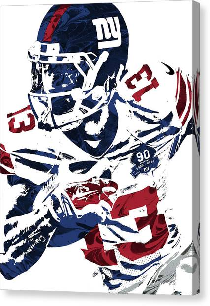 Odell Beckham Jr Canvas Print - Odell Beckham Jr New York Giants Pixel Art by Joe Hamilton