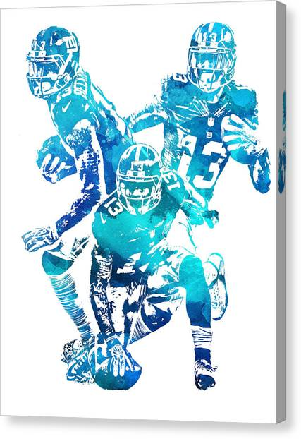 Odell Beckham Jr Canvas Print - Odell Beckham Jr New York Giants Water Color Pixel Art 1 by Joe Hamilton