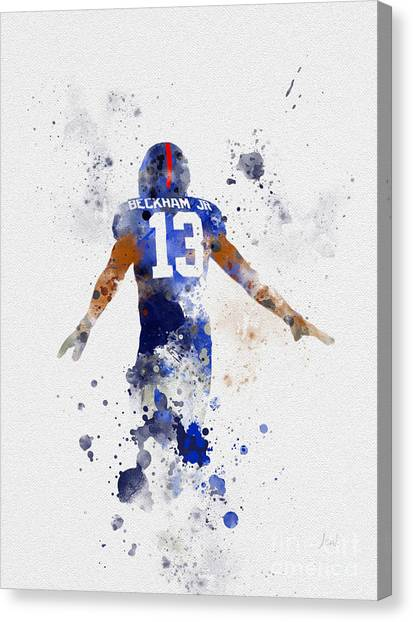 Superbowl Canvas Print - Odell Beckham Jr by Rebecca Jenkins