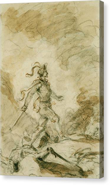 Rococo Art Canvas Print - Odorico Kills Corebo And Sets Out In Pursuit Of Isabella by Jean-Honore Fragonard