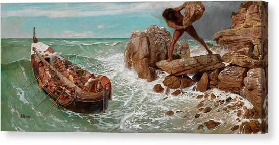 Cyclops Canvas Print - Odysseus And Polyphemus by Arnold Bocklin
