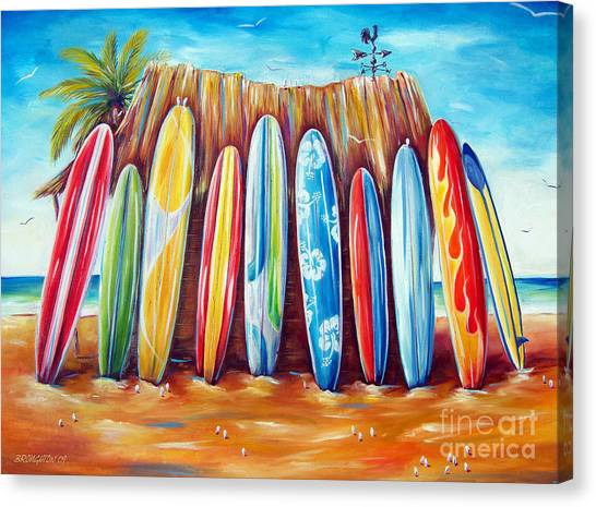 Surfboard Canvas Print - Off-shore by Deb Broughton