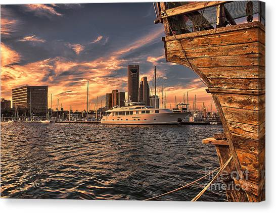 Off The Port Stern Canvas Print