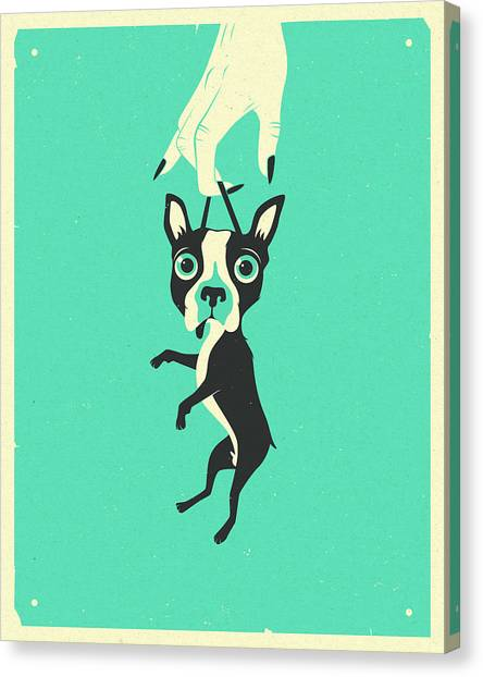Boston Terriers Canvas Print - Off To Get Neutered by Jazzberry Blue