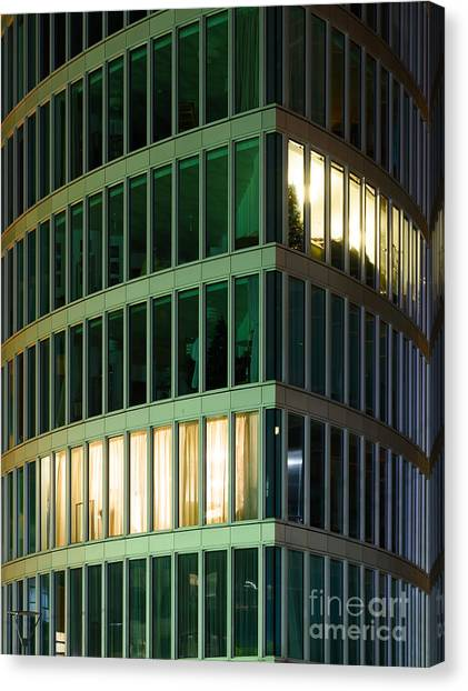 Office Building At Night Canvas Print