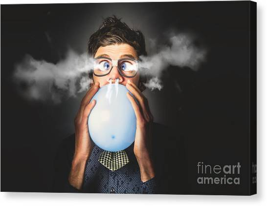 Canvas Print featuring the photograph Office Party Nerd Blowing Up Birthday Balloon by Jorgo Photography - Wall Art Gallery