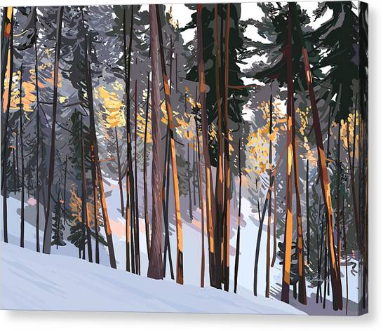 Office View Winter Alpenglow Canvas Print