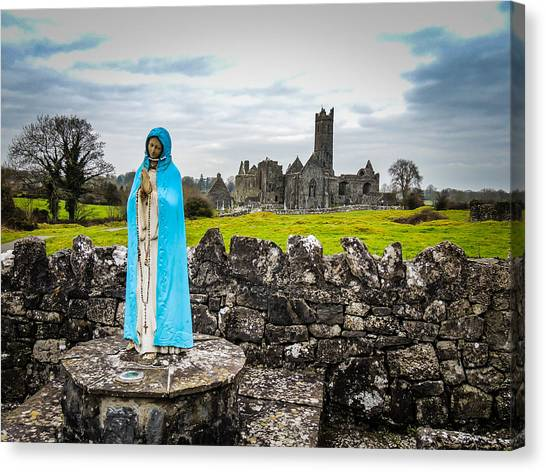 Official Greeter At Ireland's Quin Abbey National Monument Canvas Print