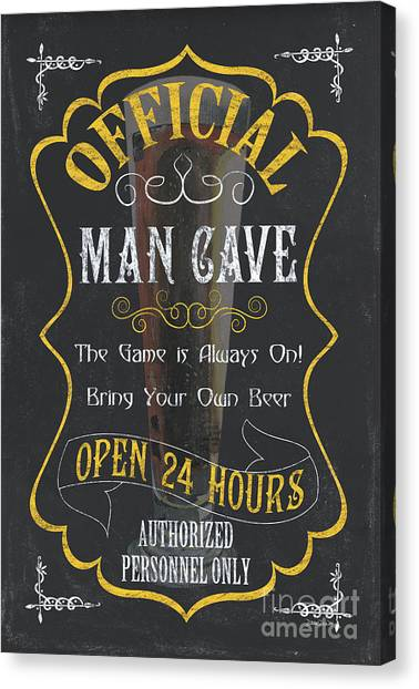 Pub Canvas Print - Official Man Cave by Debbie DeWitt