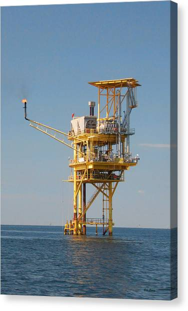 Offshore Gas Platform Canvas Print by Bill Perry