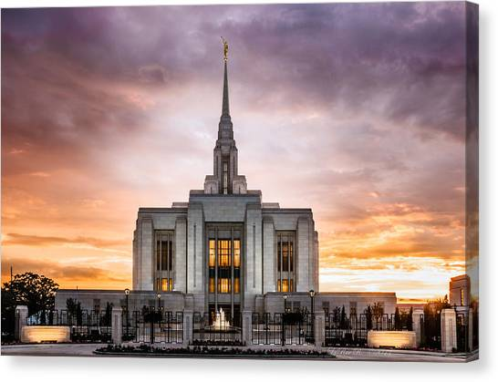Mormon Canvas Print - Ogden Lds Temple Sunset by La Rae  Roberts