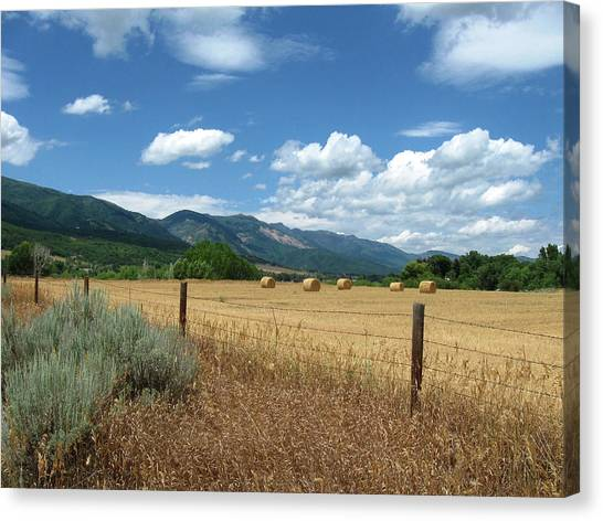 Ogden Valley Hay Bales Photo Canvas Print