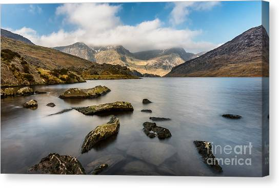 Tryfan Mountain Canvas Print - Ogwen Lake Wales by Adrian Evans