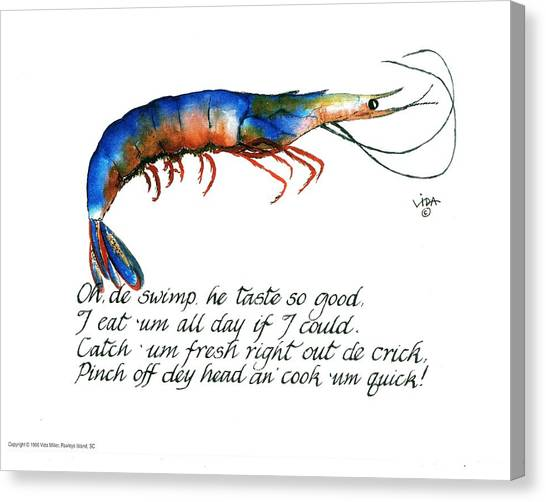 Shrimping Canvas Print - Oh De Swimp by Vida Miller
