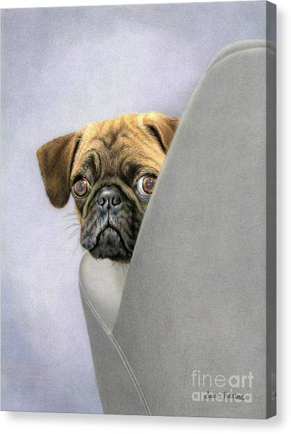 Pugs Canvas Print - Oh, You're Home... by Sarah Batalka