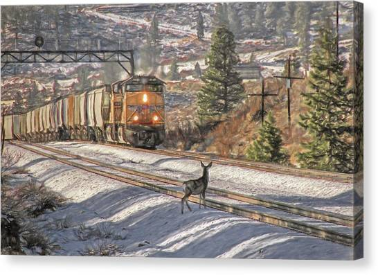 Freight Trains Canvas Print - Ohhh Deer by Donna Kennedy