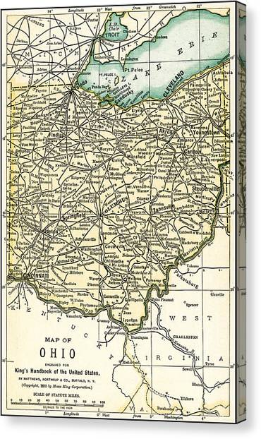 Ohio Antique Map 1891 Canvas Print